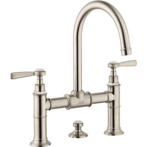 AXOR - Brushed Nickel 2-Handle Faucet 220 with Lever Handles and Pop-Up Drain, 1.2 GPM