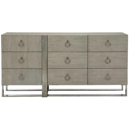 Linea Dresser in Cerused Greige (384), Textured Graphite Metal (384)