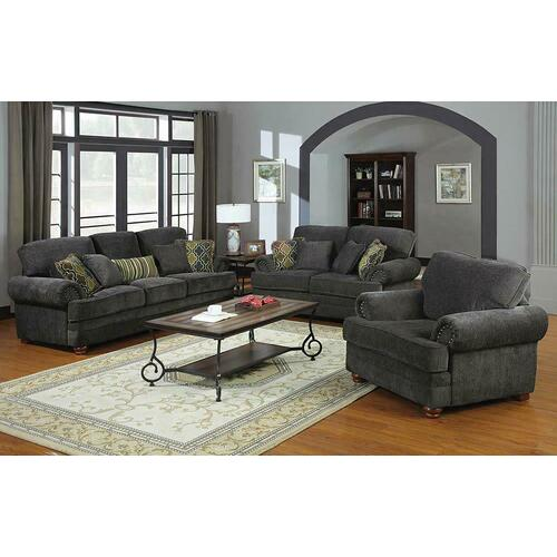 See Details - Colton Traditional Smokey Grey Loveseat