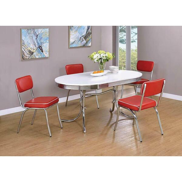 See Details - Retro Red and Chrome Dining Chair