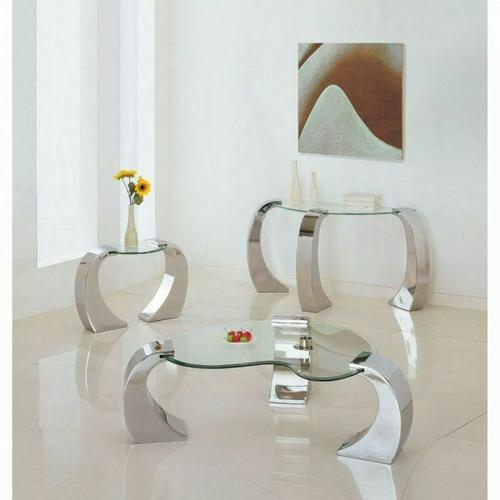 ACME Metro Coffee Table - 07570 - Chrome Plated & Clear Glass