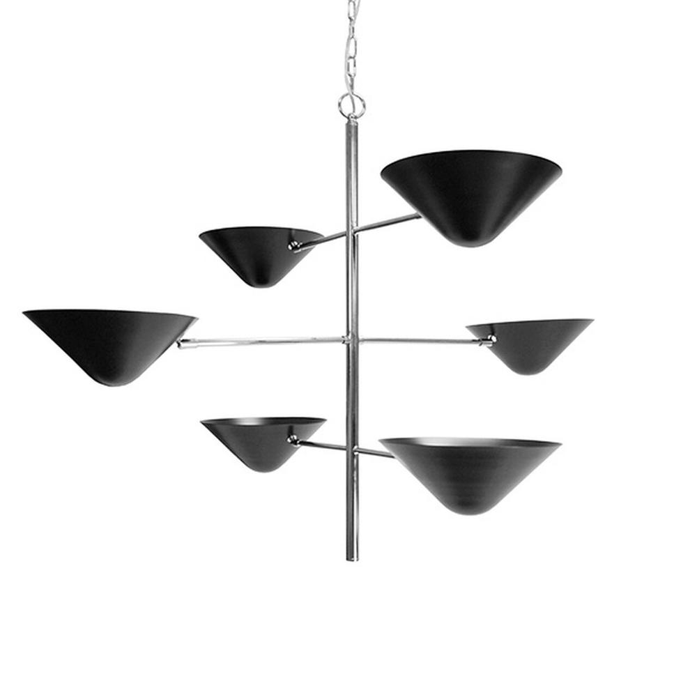 Three Crossed, Polished Nickel Arms Balance Six Matte Black Uplight Shades In Air Like A Tightrope Artist and Ensure This Pendant Fixture Makes an Impressive Statement Piece Over A Dining Table or In an Entry Foyer. Includes 6' of Matching Chain and Canopy for Your Custom Installation.