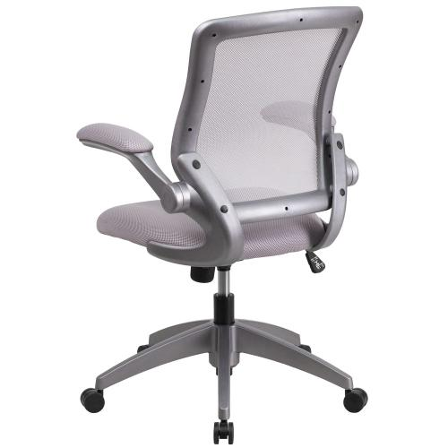Mid-Back Gray Mesh Swivel Task Chair with Gray Frame and Flip-Up Arms