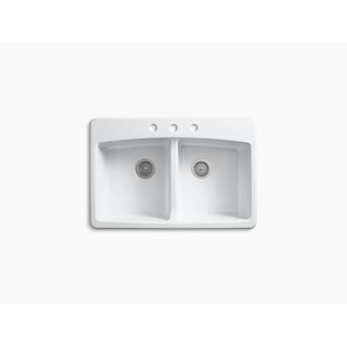 """White 33"""" X 22"""" X 9-5/8"""" Top-mount Double-equal Kitchen Sink"""