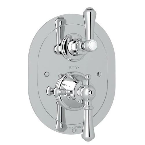 Georgian Era Oval Thermostatic Trim Plate with Volume Control - Polished Chrome with Metal Lever Handle