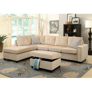 ACME Belville Sectional Sofa w/Pillows (Reversible) - 52705 - Beige Velvet