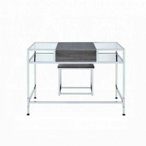 ACME Carenze Vanity Set - 90310 - Gray Oak & Chrome
