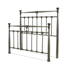 See Details - Kensington Metal Headboard and Footboard Bed Panels with Stately Posts and Detailed Castings, Vintage Silver Finish, Queen
