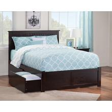 Nantucket Full Flat Panel Foot Board with 2 Urban Bed Drawers Espresso