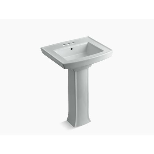 """Ice Grey Pedestal Bathroom Sink With 4"""" Centerset Faucet Holes"""
