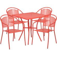 28'' Square Coral Indoor-Outdoor Steel Patio Table Set with 4 Round Back Chairs