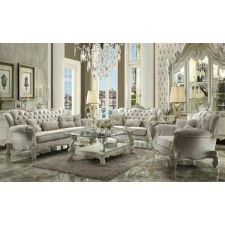 ACME Versailles Sofa w/5 Pillows - 52105 - Ivory Velvet & Bone White