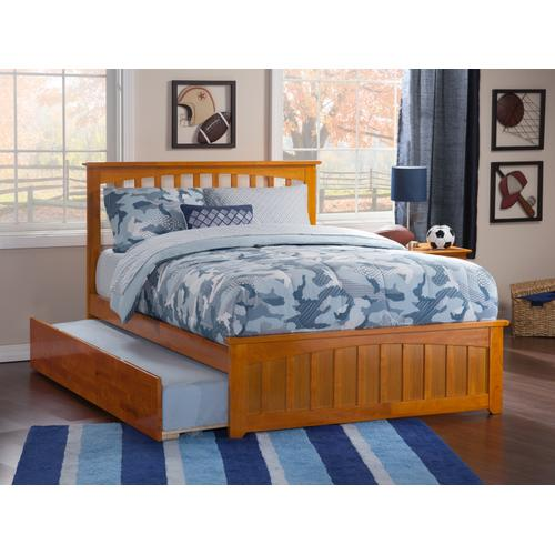 Mission Full Bed with Matching Foot Board with Urban Trundle Bed in Caramel Latte