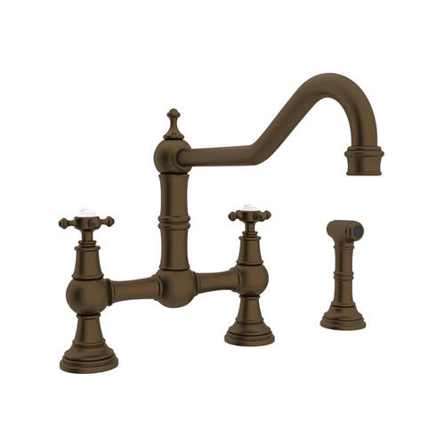 Edwardian Bridge Kitchen Faucet with Sidespray - English Bronze with Cross Handle