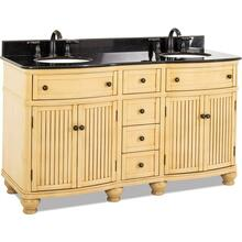 "60-1/2"" double Buttercream vanity with Antique Brushed Satin Brass hardware, bead board doors, curved front, and preassembled Black Granite top and 2 oval bowls"