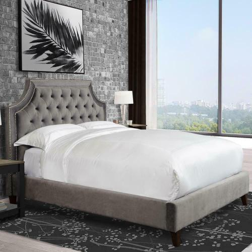 JASMINE - FLANNEL Upholstered Bed Collection (Grey)