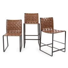 See Details - Irving Woven Leather Barstool