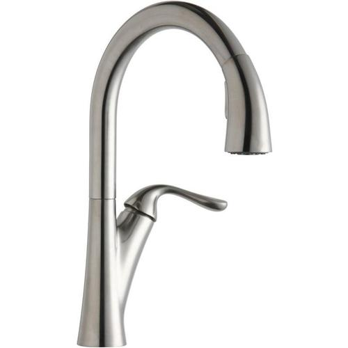 Elkay - Elkay Harmony Single Hole Kitchen Faucet with Pull-down Spray and Forward Only Lever Handle Lustrous Steel