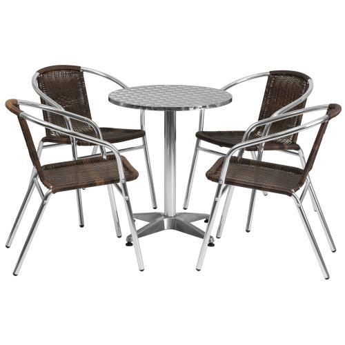 23.5'' Round Aluminum Indoor-Outdoor Table Set with 4 Dark Brown Rattan Chairs