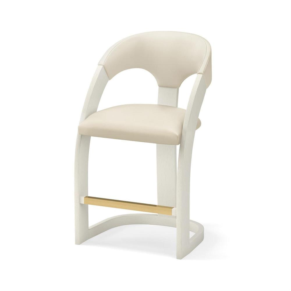 See Details - Delia Counter Stool-Antique White-Milk Leather