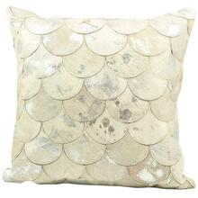 """Natural Leather Hide S1203 White/silver 20"""" X 20"""" Throw Pillow"""