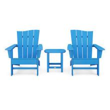 View Product - Wave 3-Piece Adirondack Chair Set in Vintage Pacific Blue