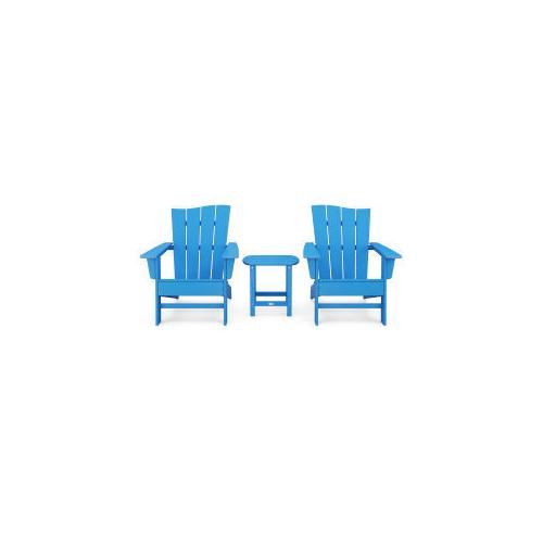 Polywood Furnishings - Wave 3-Piece Adirondack Chair Set in Vintage Pacific Blue
