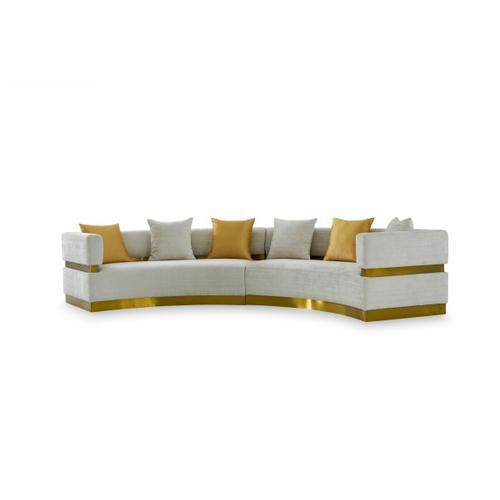 VIG Furniture - Divani Casa Kiva - Glam Beige and Gold Fabric Sectional Sofa