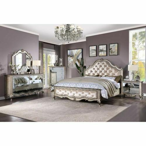 ACME Esteban Queen Bed - 22200Q - Glam - Velvet, Wood (Poplar), Poly-Resin, MDF, PB - Velvet and Antique Champagne