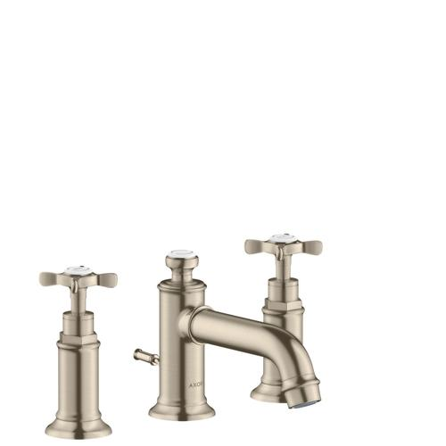 Brushed Nickel 3-hole basin mixer 30 with cross handles and pop-up waste set