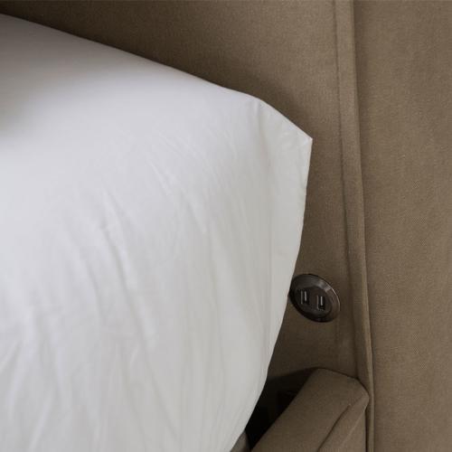 Penninsula Queen Upholstered Bed Khaki (2 Pc)
