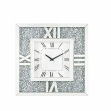 ACME Noralie Wall Clock - 97727 - Glam - Mirror, Glass, MDF, Faux Diamonds (Acrylic), LED - Mirrored and Faux Diamonds