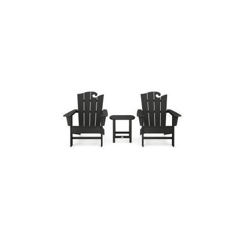 Polywood Furnishings - Wave 3-Piece Adirondack Set with The Ocean Chair in Black