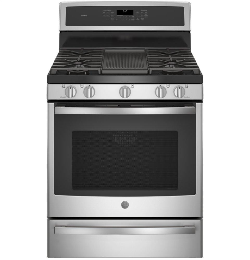 """GE Profile30"""" Smart Dual-Fuel Free-Standing Convection Range With Warming Drawer"""
