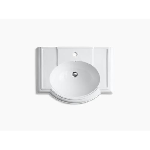 "White 27"" Pedestal Bathroom Sink With Single Faucet Hole"