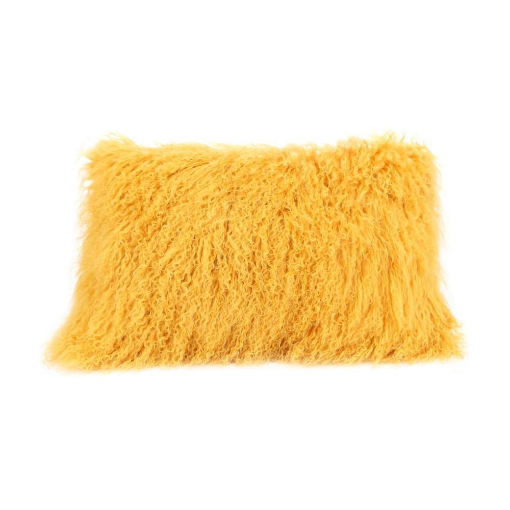 See Details - Lamb Fur Pillow Rect. Gold