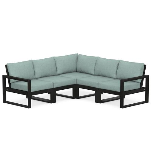 Polywood Furnishings - EDGE 5-Piece Modular Deep Seating Set in Black / Glacier Spa