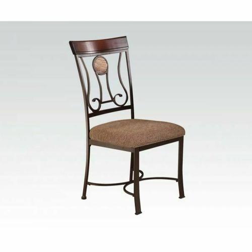 Acme Furniture Inc - ACME Barrie Side Chair (Set-2) - 70642 - Faux Marble - Cherry Oak & Dark Bronze