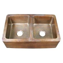 "Pembroke 34"" Double Bowl Copper Farmer Sink"
