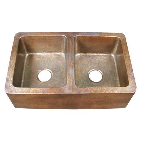 """Pembroke 34"""" Double Bowl Copper Farmer Sink"""