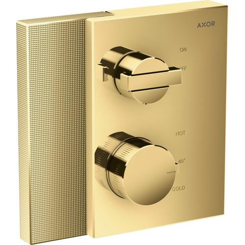 AXOR - Polished Gold Optic Thermostatic Trim with Volume Control - Diamond Cut