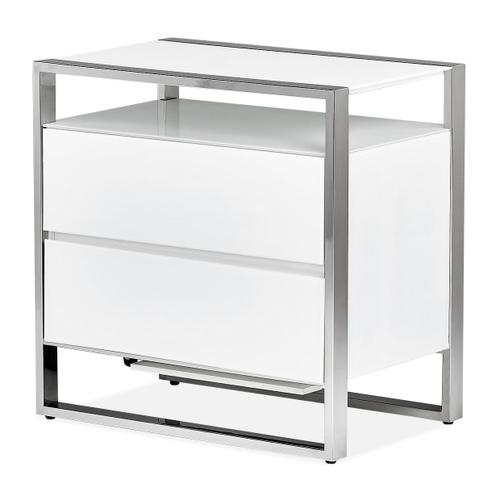 Amini - Metal Accent Cabinet-night Stand-end Table W/led Lights