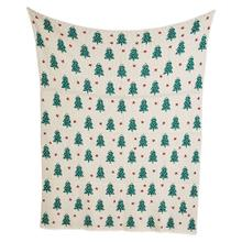 """Product Image - 60""""L x 50""""W Cotton Knit Throw w/ Trees, Green & Cream Color"""