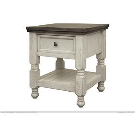 1 Drawer Shelf End Table Stone
