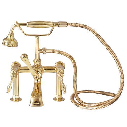 Tub Rim-Mounted Filler with Hand-Held Shower - Lever Handles with Finials / Polished Brass
