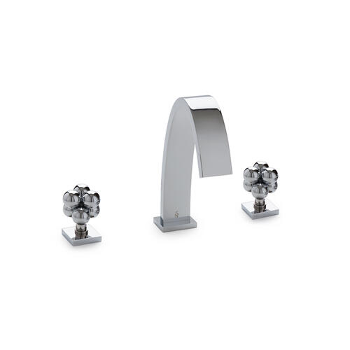 Polished Chrome Aqueduct with Molecule Knob Deck Mount Tub Set with Cylindrical Hand Shower
