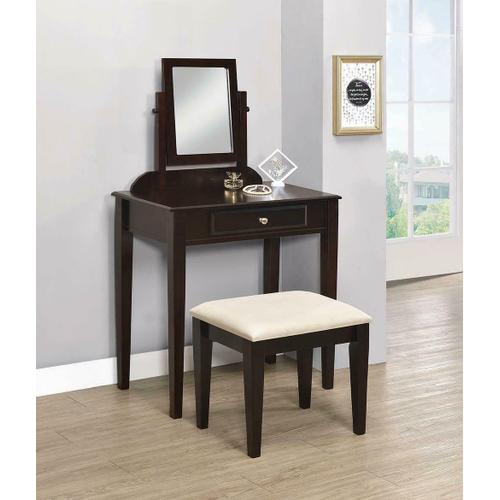 Transitional Espresso Vanity and Stool