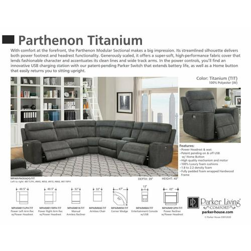 Parker House - PARTHENON - TITANIUM Manual Armless Recliner