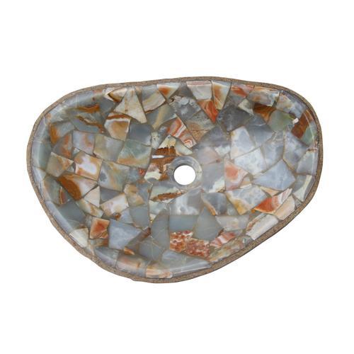 Nevis Onyx Above Counter Basin - White Mosaic Interior