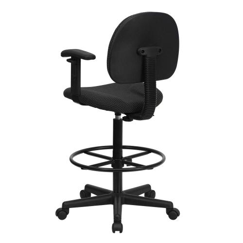 Black Patterned Fabric Drafting Chair with Adjustable Arms (Cylinders: 22.5''-27''H or 26''-30.5''H)